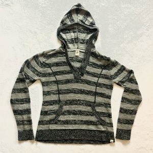 Roxy Striped Knit Hoodie with Button on Front